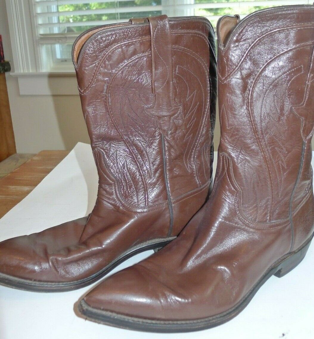 Vintage Lucchese Stiefel 72524 Made in Texas Soft Leather Classic Style Größe 9D