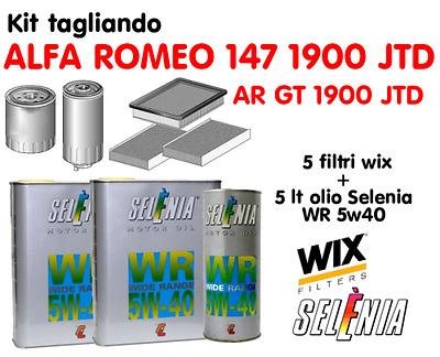 KIT TAGLIANDO 4 FILTRI PER ALFA ROMEO 147 1.9 JTD WIX CON FILTRO CARBURANTE UFI