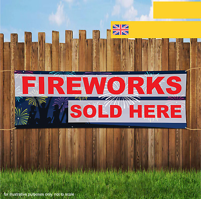 FIREWORKS Sold Here PVC Printed Banner Outdoor//Indoor Sign Eyelets