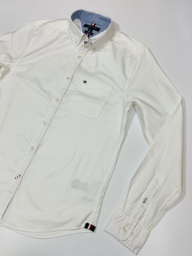 RRP £89 Tommy Hilfiger Men's Slim Fit Taping Shirt White