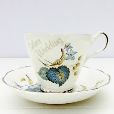 Vintage Argyle Bone China Silver Wedding Anniversary Tea Cup Saucer Set