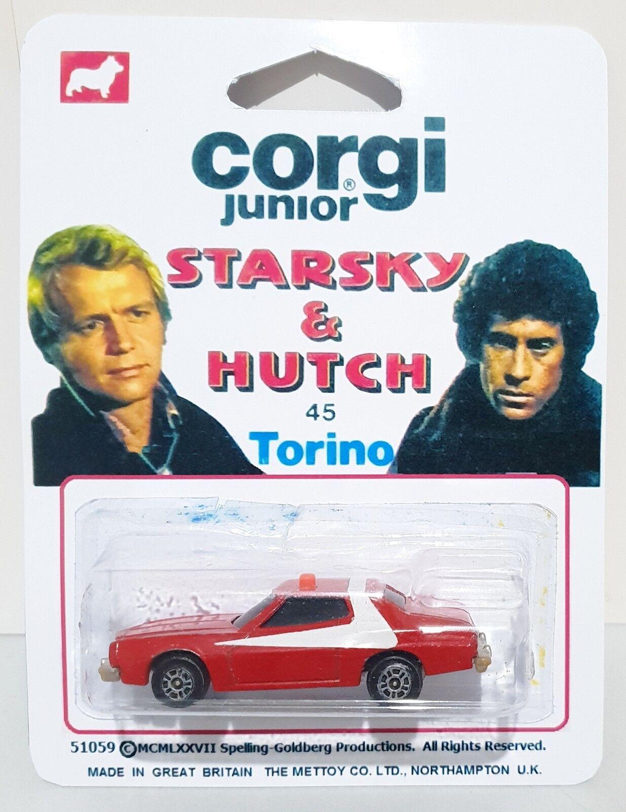 CORGI Juniors STARSKY & HUTCH Diecast Model FORD GRAN TORINO In Repro 45 Card