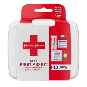 Johnson & Johnson Travel Size First Aid Kit To Go! 12 Piece Kit - LOT OF 2 Kits