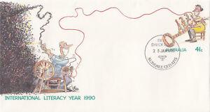 (13968) Australie Entiers Postaux Fdc Literacy Année 25 Janvier 1990-afficher Le Titre D'origine