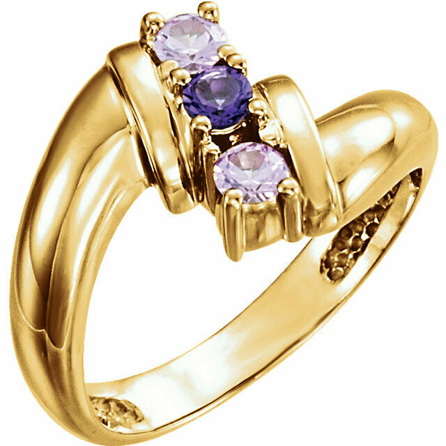 Family Ring 10K or 14K Solid gold Mother's Ring 1 to 5 Birthstones
