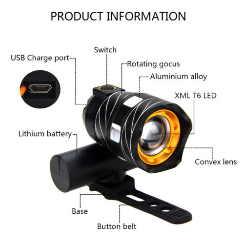 USB Rechargeable XM-L T6 LED 15000LM MTB Bicycle Light Bike Lamp Front Headlight