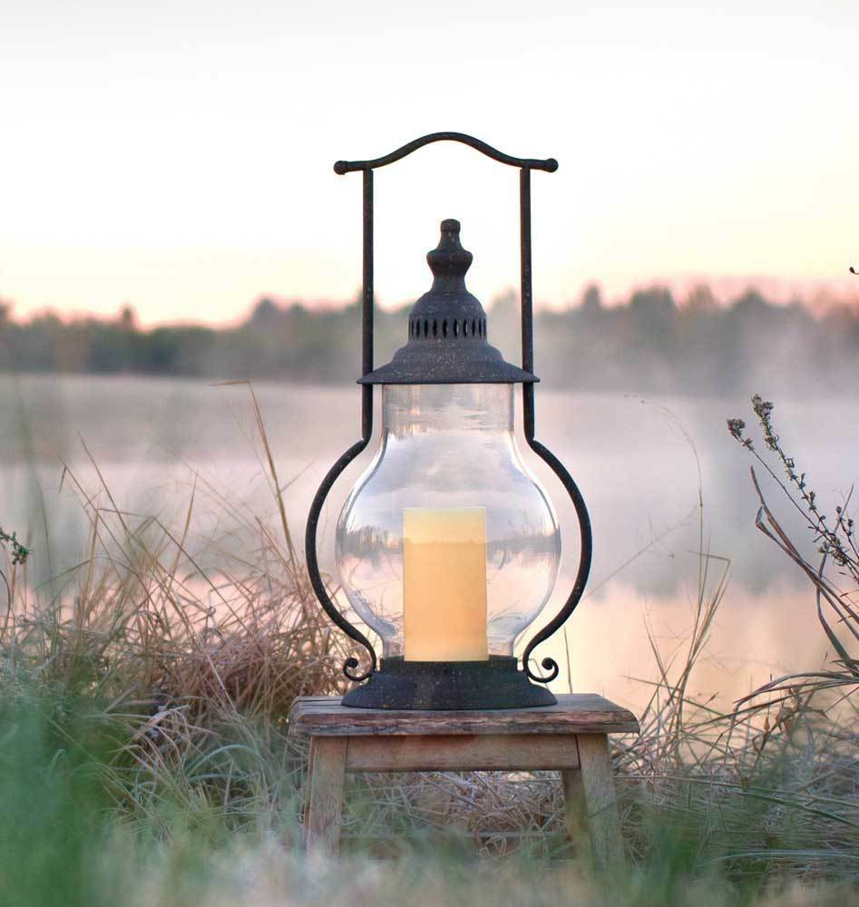 Country new large distressed tin STEEPLE Candle lantern