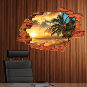 3D-Sunset-Vinyl-Home-Room-Decor-Art-Wall-Decal-Sticker-Bedroom-Removable-Mural