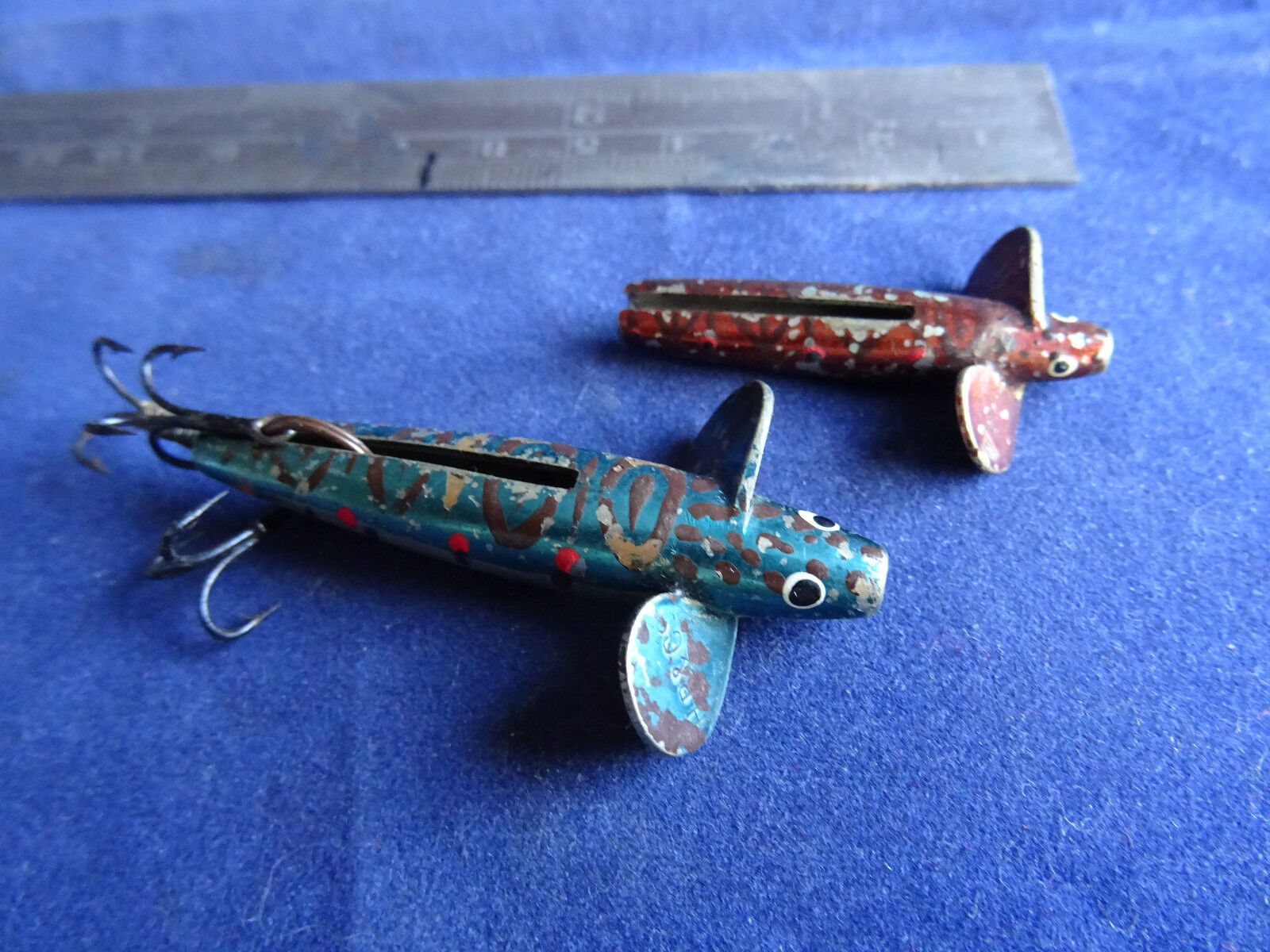 2 EARLY VINTAGE SLOTTED DEVON MINNOWS STAMPED W.B & S AND H.B & CO.