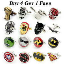 SUPERHERO MENS WEDDING SHIRT CUFFLINKS SUPER HERO MARVEL Batman Spiderman Gift