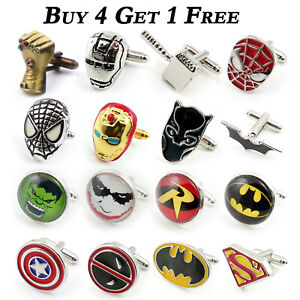 SUPERHERO-MENS-WEDDING-SHIRT-CUFFLINKS-SUPER-HERO-MARVEL-Batman-Spiderman-Gift
