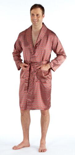 Mens Satin Luxury Silky Wrap Dressing Gown Kimono Robe Red Blue Summer