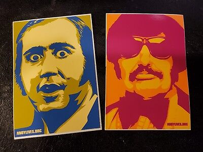 Shepard Fairey Andy Kaufman Tony Clifton Stickers 1999 OBEY GIANT RARE Man Moon