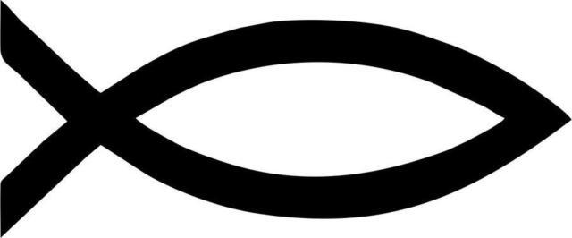 Aufkleber Sticker Auto Motorrad Fisch Christentum Ichthys Symbol Schwarz