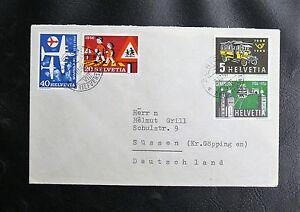 TIMBRES-SUISSE-SERIE-SUR-LES-TRANSPORTS-1906-1956-Oblitere-TBE