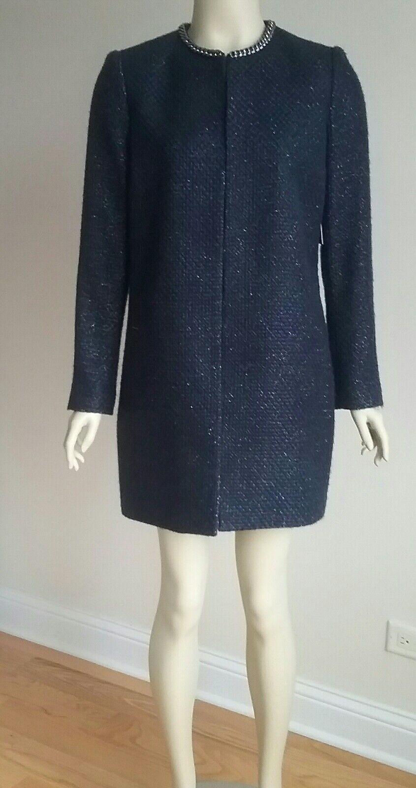 Elie tahari women coat S Nevy bluee Metallic New