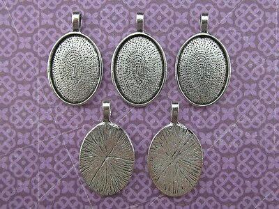 Cameo Craft 18 x 25 18x25mm Oval Pendant Trays Antique Silver Color 20 Qty