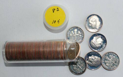 1982 Roosevelt Clad Proof Roll of Dimes Coins 10c US Coins 50 Dimes in Roll
