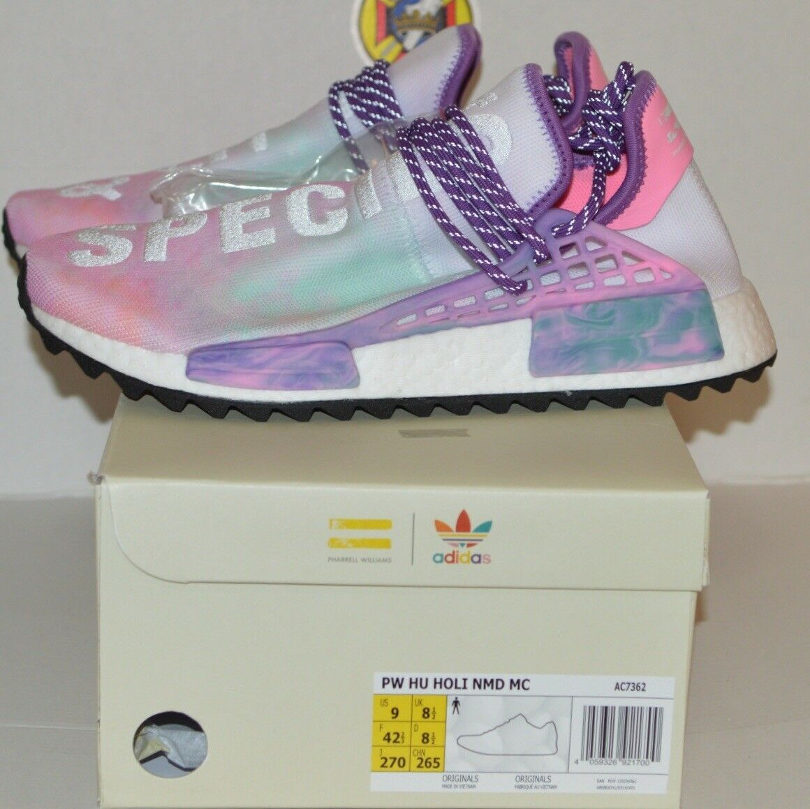NEW adidas pw hu holi nmd mc pink size 9 100%authentic boost pk pharrell coral