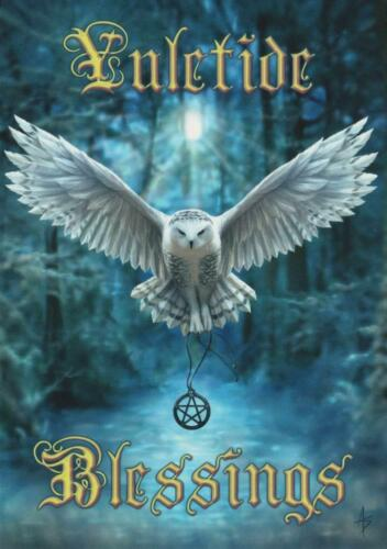 Awake Your Magic Greetings Card by Anne Stokes yuletide blessings Christmas owl