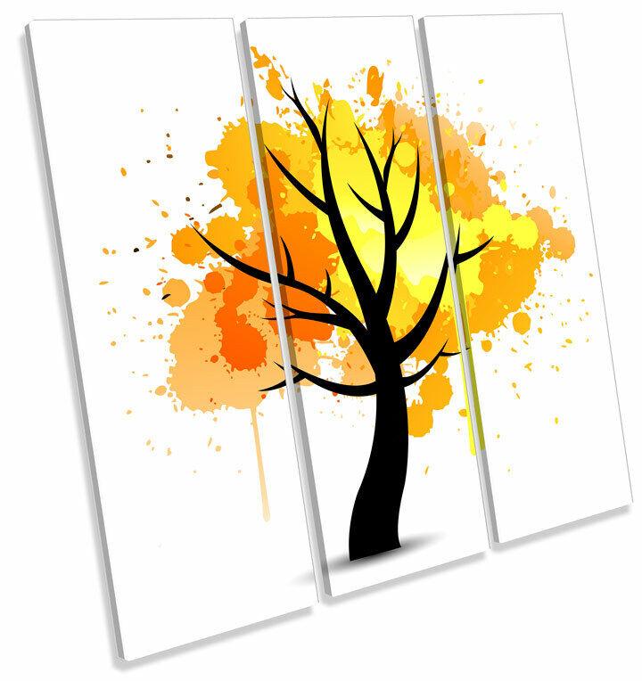 Gelb Tree Autumn Abstract TREBLE CANVAS Wand Kunst Square Drucken Bild