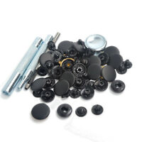 Punch Tool W/30 Sets Black Matte 15mm Snap Fasteners Button Press Studs Kit Us