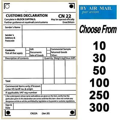Self Adhesive Customs Declaration CN22 labels ~25//50//100//150//200//250