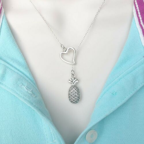 I Love Welcome Symbol Pineapple Handcrafted Silver Lariat Style Y Necklace.
