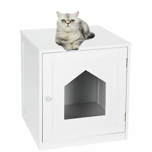 """18.90"""" Cat Hidden Litter Box Enclosure Nightstand End Table Kitty Pet House"""