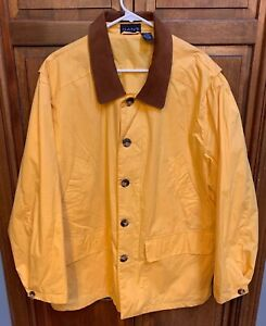 a96b6e68a Gant Barn Field Jacket Coat Chore Men L Yellow Cotton Brown Leather ...