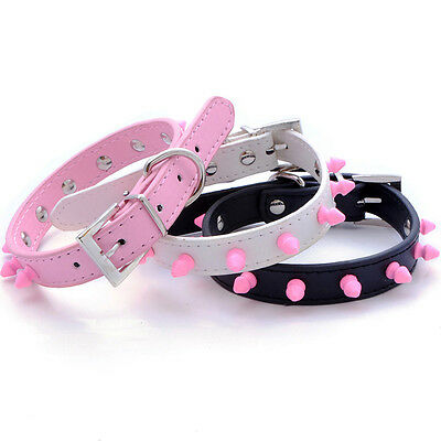 Neck PU Leather Spiked Studded Pet Dog Cat Collars Pink White S/M/L