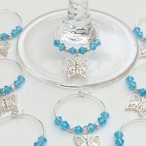 20 Aqua papillon cristal verre vin charmes mariage baptême faveurs fête