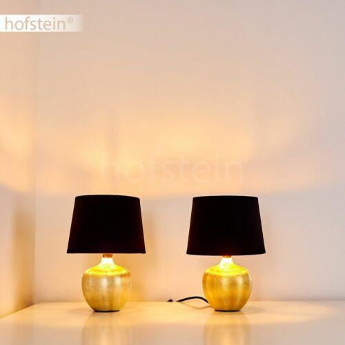 Schlaf Wohn Zimmer Leuchten Keramik gold Stoff schwarz Nacht Tisch Lese Lampen