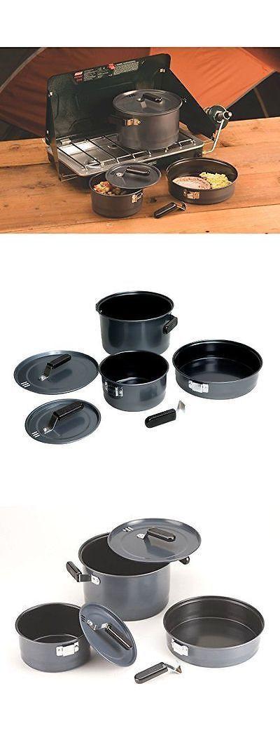 Coleman 6 Pcs Cookware Set Portable Outdoor Camping BBQ Grill Cooking Pot Pan