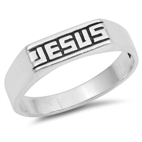 .925 Sterling Silver Jesus Band Religious Promise Ring Size 5 6 7 8 9 10 NEW