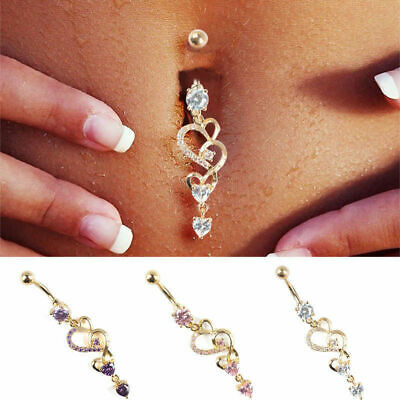 1pc Rhinestone Dangle Button Barbell Belly Navel Ring Body Piercing Random Color