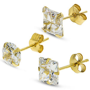 9CT-GOLD-CZ-SINGLE-STUD-EARRINGS-GENTS-WHITE-CUBIC-ZIRCONIA-GIFT-BOX-FREE-POST