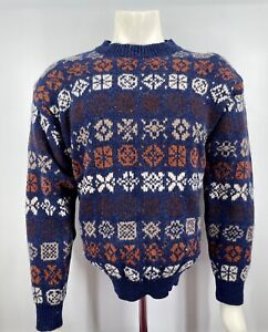 BENETTON Made in Italy Shetland Wool Sweater Men Size 50 Small Vintage 90s