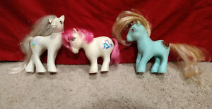 Lot-x3-Vtg-My-Little-Pony-MLP-G1-Bride-Princess-Serena-Pink-Blue-White-1987-1982
