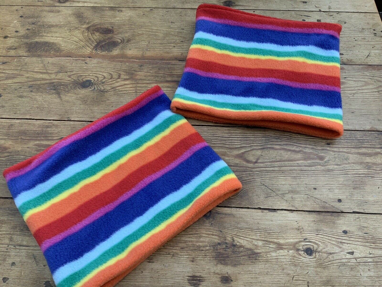 """Rainbow Fleece Neck Warmer. 21""""or 23"""" circumference. Please Message. snuggly."""