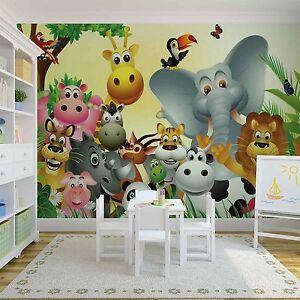 Das Bild Wird Geladen Tapete Wandkunst Fuer Baby Schlafzimmer  Dschungel Wald Tiere