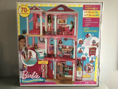 Accessories Fully Furnished New Mattel Barbie DreamHouse Doll 3 story 70