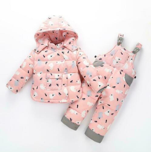 Toddler Boys Girls Puffer Down Jacket Hooded Warm Thick Coat Pants Snowsuit 2pcs
