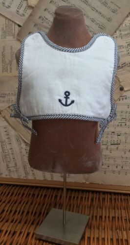 GYMBOREE Terry-Lined SAILOR BODICE BIB Embroidered ANCHOR White Stripe Snap RARE