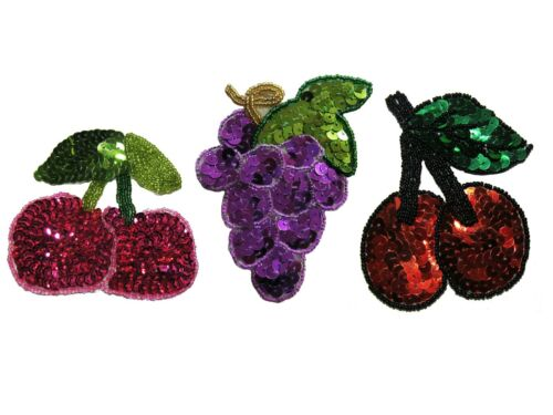 Red Cherry Purple Grapes Fruit Glass Beaded Sequin Sew On Motif Applique by Pc
