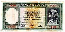 Grece GREECE Billet 1000 DRACHMAI 1939 P110  WWII FEMME BON ETAT