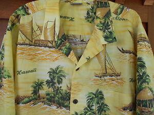 Royal-Creations-Hawaiian-Aloha-Shirt-XXL-Mens-USA-Coconut-Buttons-Yellow-5H5