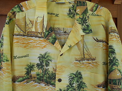 Royal Creations Hawaiian Aloha Shirt XXL Mens USA Coconut Buttons Yellow 5H5