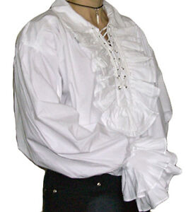 NEW-Men-039-s-Cotton-Goth-Pirate-White-Frill-Cotton-Shirt-XL