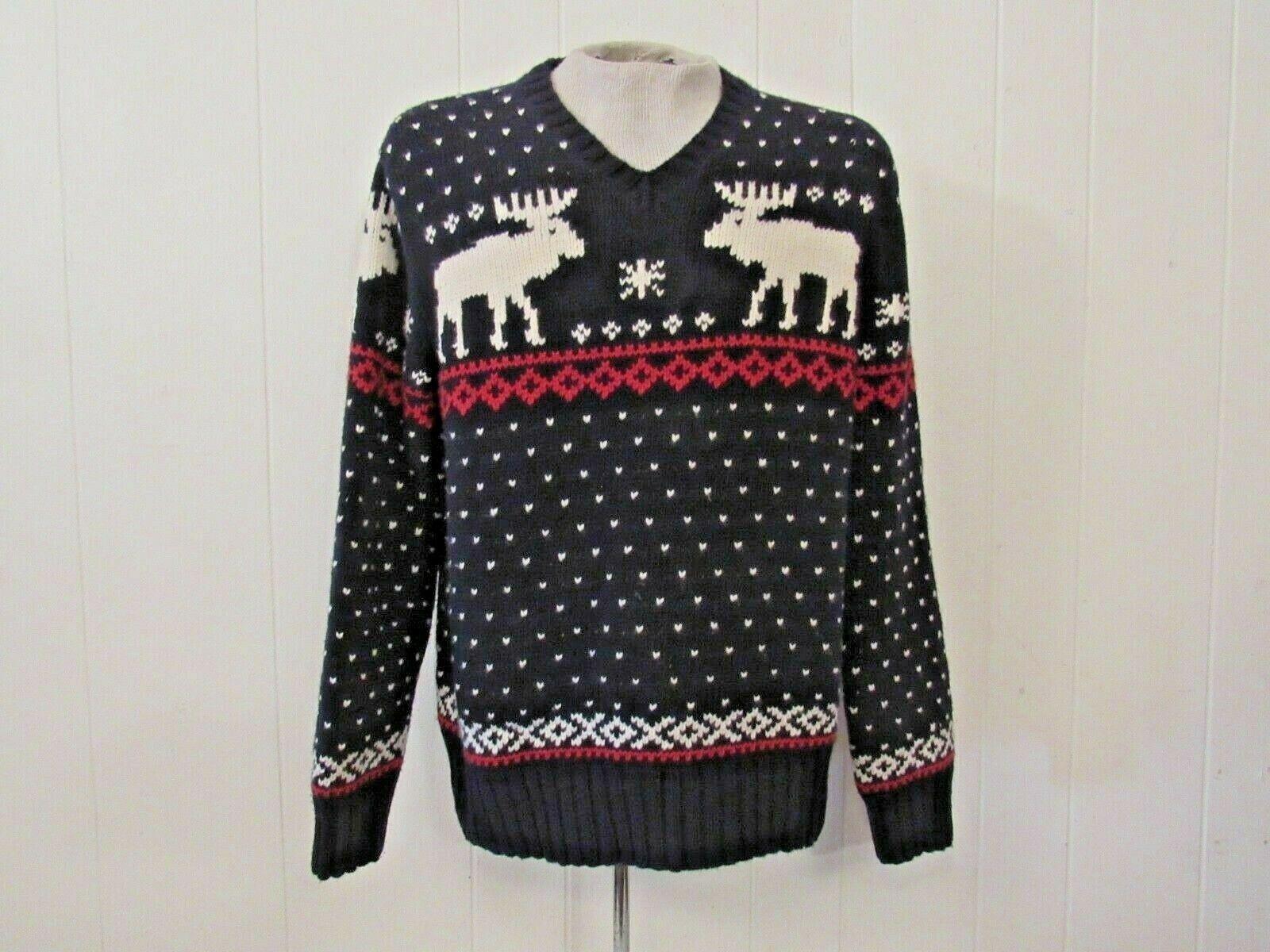 Vintage      Polo Ralph Lauren schweißer winter scene suicide reindeer moose Sz XL